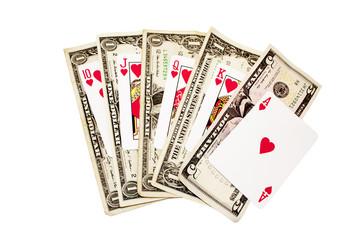 Royal Flush Of Hearts With Bank Notes