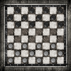 Travelling draughts or checkers on playing field