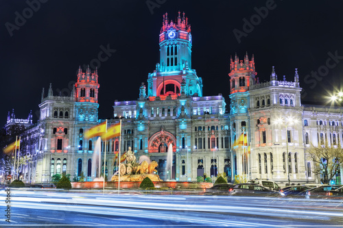 Fotobehang Madrid Cibeles square at Christmas, Madrid, Spain