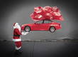 Santa claus with car gift.