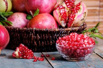 pomegranates on a basket