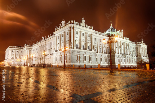 Royal Palace of Madrid at night, Spain