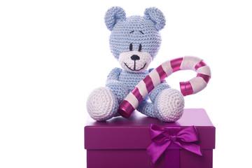 christmas teddy bear with sugar candy cane