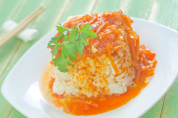 rice with sauce