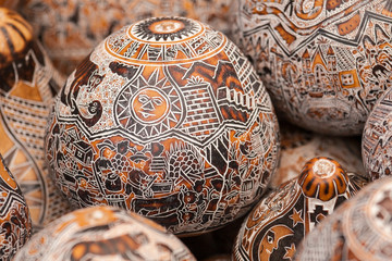 Wooden egg carvings
