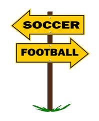 soccer football sign with arrow