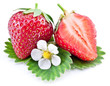 Strawberry fruit with slice and flower.