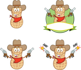 Peanut Cowboy Character With Guns. Collection Set