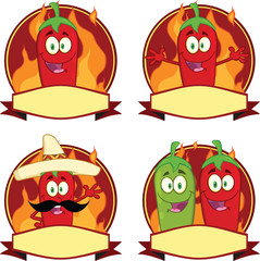 Mexican Chili Peppers Cartoon Labels. Collection Set