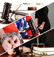 Conceptual collage of litigation