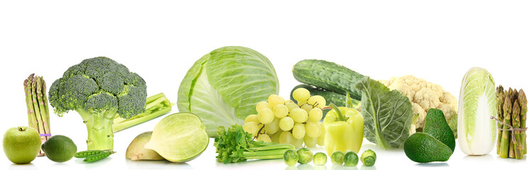 Collage of green vegetables and fruits