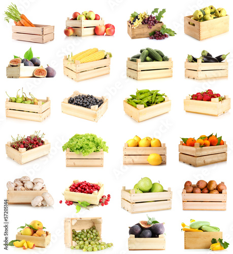 Collage of fruits and vegetables in wooden boxes isolated