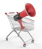 shop cart and megaphone