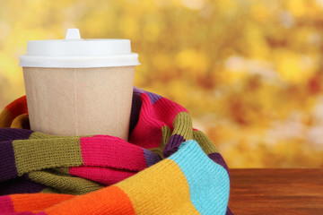 Hot drink in paper cup with color scarf