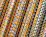 Background is made ​​of steel rebar rods poster
