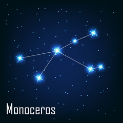 """The constellation """" Monoceros"""" star in the night sky. Vector ill"""