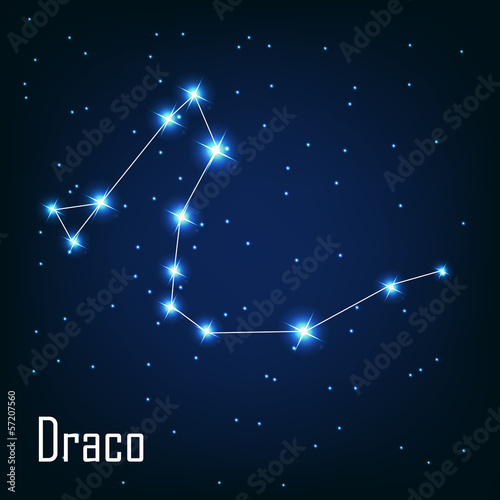 "The constellation "" Draco"" star in the night sky. Vector illustr"