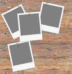 Vorlage für eigene Fotos auf alter Holzwand, Sofortbild