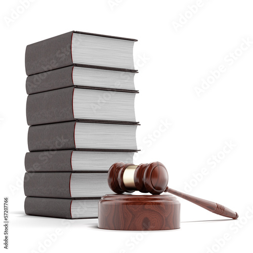 wooden gavel with books