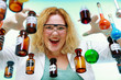 Crazy chemist woman with chemical glassware flask