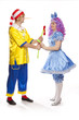 Couple of happy clowns in Pinocchio and Malvina suits