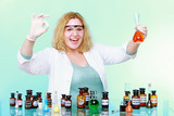 chemist woman with glassware ok sign up gesture isolated