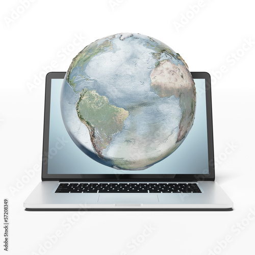 earth and laptop
