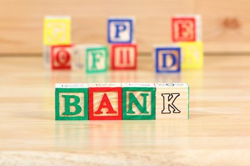 Bank - word made of toy blocks