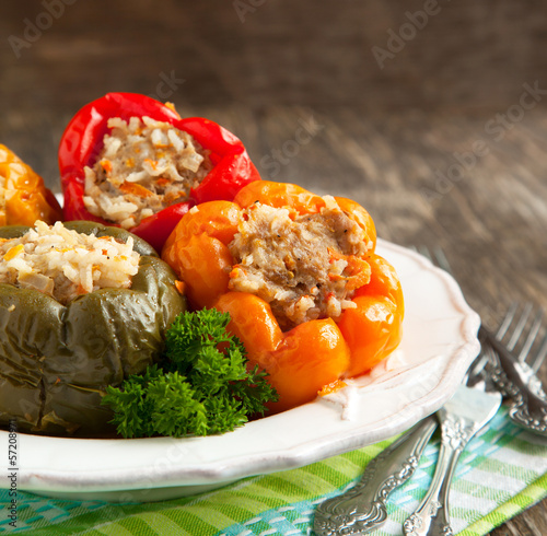 Colorful peppers stuffed with meat, rice and vegetables