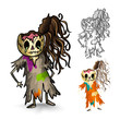 Halloween monsters isolated sketch style zombies set.