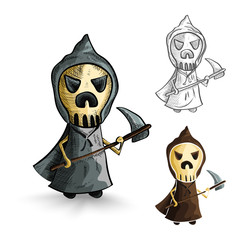 Halloween monsters isolated sketch style reapers set.
