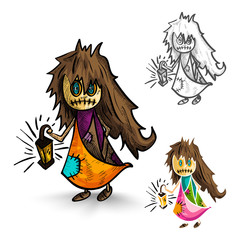Halloween monsters isolated sketch style witches set.