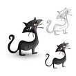 Halloween monsters isolated spooky black cats set.
