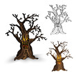 Halloween monsters isolated spooky haunted tree set.