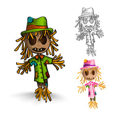 Halloween monsters isolated hand drawn scarecrows set.