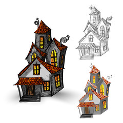 Halloween monsters isolated spooky haunted houses set.