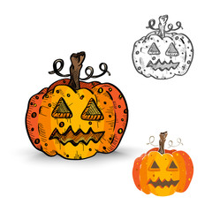 Halloween monsters isolated spooky pumpkin lanterns set.