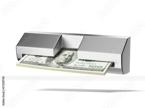 cash machine and stack of dollars