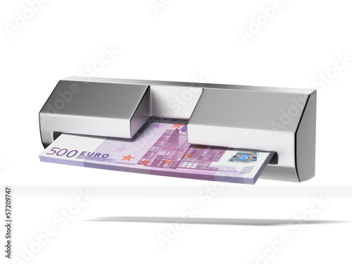 cash machine and stack of euros