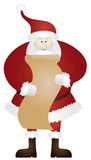 Santa Claus with Christmas List Vector Illustration