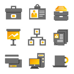 office and business icons, gold theme