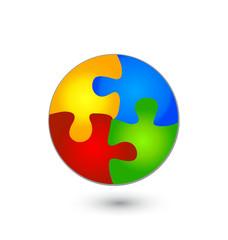 Vector illustration of puzzle circle logo