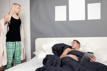 Woman undressing for bed