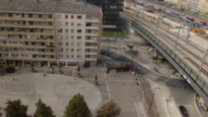 Tilt shift urban square