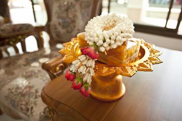 thai garland, Thai style fresh flower garland on golden tray