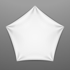 White stretched pentagonal shape with folds