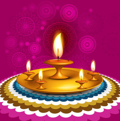 Beautiful Happy diwali decorative lamp design vector