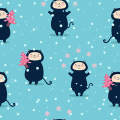 Seamless Christmas background with funny cats