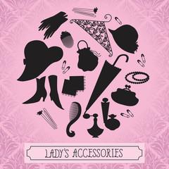 Vintage ladies accessories silhouettes
