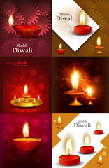 Happy diwali beautiful 6 collection presentation colorful hindu